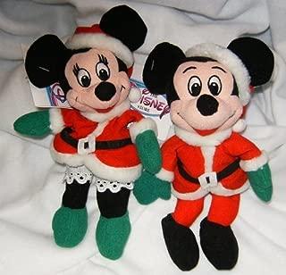 Disneys Mickey and Minnie Santa and Mrs. Claus 7 Mini Bean Bag Plush