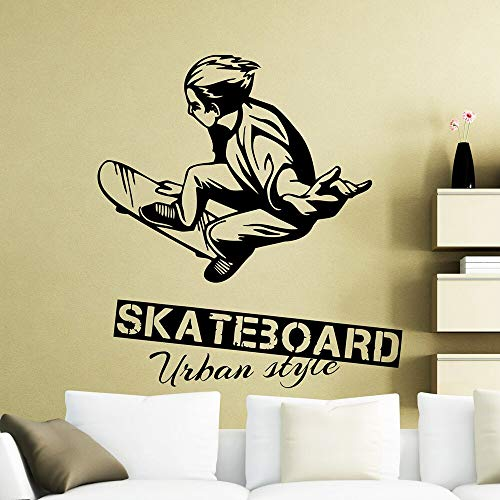 NSRJDSYT Pegatina de Pared de Skateboarding Skater Skater Estilo Urbano calcomanías de Pared Deportes Vinilo Arte decoración de la habitación del hogar Papel Tapiz 57x62cm