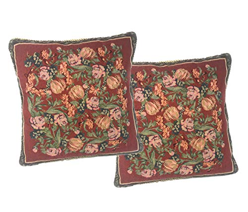 DaDa Bedding Throw Pillow Covers - Set of Two Field of Roses Floral - Victorian Elegant Square Colorful Red Decor - 2-Pieces - 18' x 18'