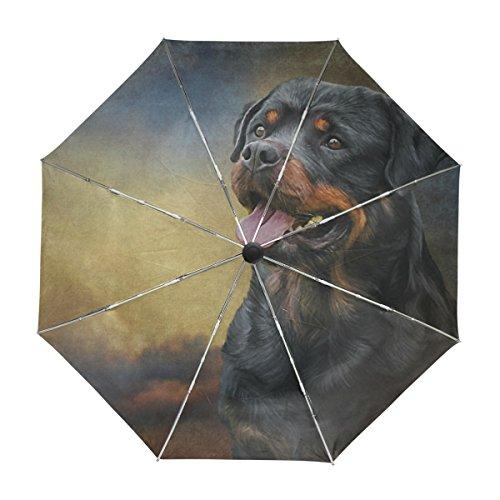ALAZA Rottweiler Hund Regenschirm Reise Auto Öffnen Schließen UV-Schutz-windundurchlässiges Leichtes Regenschirm