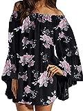 ZANZEA Vestido Corto Verano con Hombros Descubiertos Estampado Floral Mini Abito da Spiaggia Taglia Larga 07-immagine3 XL