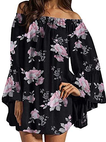 ZANZEA Damen Langarm Schulterfrei Kleid Blumen Oversize Oberteil Carmen Mini Kleider 07-als blid3 XXX-Large