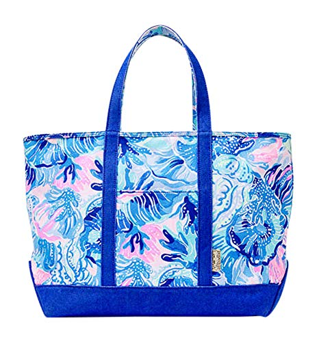 Lilly Pulitzer Mercato Tote Saltwater Blue Shade Seekers