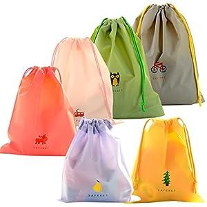 6 Pcs Bolsa de Cuerdas Impermeable, EASEHOME Saco de Deporte Bolsas Cordon de Gimnasio para Playa Viaje Natación Gymsack…