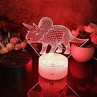 スマートフォンコントロール、LED 3Dナイトライト恐竜6パターン常夜灯子供の寝室の装飾デスクランプ16色