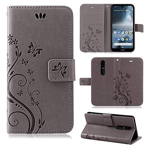 betterfon | Flower Case Handytasche Schutzhülle Blumen Klapptasche Handyhülle Handy Schale für Nokia 4.2 Grau