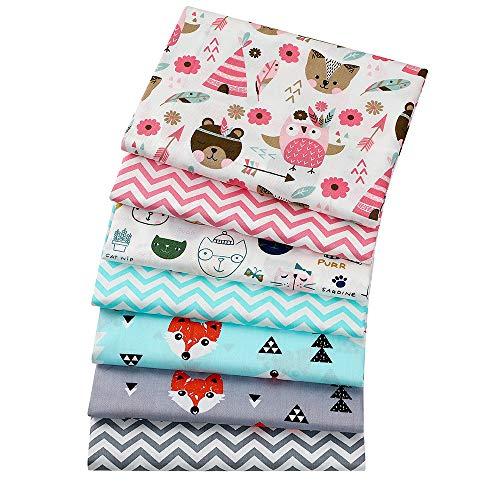 7 Stück 40 cm x 50 cm Fuchs- und Katzen-Drucke, 100% Baumwolle, Quadrate Bündel DIY Nähen Scrapbooking Quilting Kunst für Patchwork