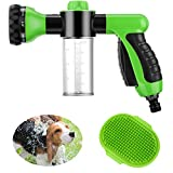 Weewooday 2 Pieces Pet Bathing Tool Set Include Livestock Foamer and Dog Rubber Comb, Spray Livestock Foamer Wash Foam Sprayer, Pet Bath Brush Rubber Dog Comb for Pets Showering (Green)