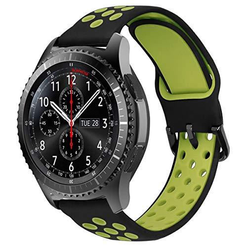 MroTech 22mm Horlogeband Armband Siliconen compatibel met Samsung Gear S3 Frontier Classic/Galaxy Watch 46mm/Huawei Watch 2 Classic/GT/GT2 Fossil 22 mm Wisselarmband Horloge Band Slicone-Zwart/geel