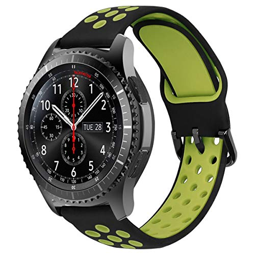 vector smartwatch MroTech Cinturino 22 mm Compatibile per Samsung Gear S3 Frontier/Classic/Galaxy Watch 46mm/Huawei Watch 2 Classic/GT/GT Active Elegant/GT2 46 MM Smartwatch Banda Ricambio 22mm Gomma Band-Nero/Giallo
