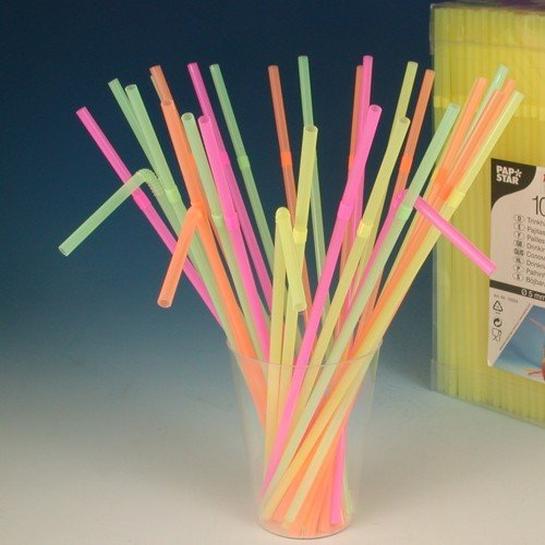 1000 Trinkhalme, flexibel Ø 5 mm · 24 cm neon bunt