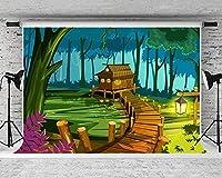 女の子の誕生日パーティーの背景写真10x7FTウィニーベアフォレスト写真の背景スタンドパーティー壁紙部屋壁画小道具ソフトコットンMSDZY215の新しい漫画映画シーンの背景