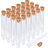 HNYYZL 25Pcs Clear Plastic Test Tubes with Cork Stoppers, 15x100mm 10ml, Good Seal for Jewelry Seed Beads Powder Spice Liquid Storage, Lab Use or Decoration