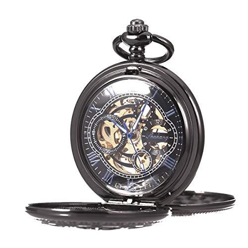 Pocket Watch Skeleton Mechanical Double Case Hand-Wind SIBOSUN Black Blue Roman Numerals Antique Mens