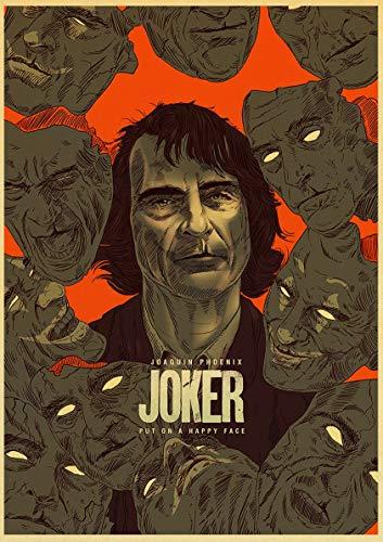 Frameloos Joaquin Phoenix Joker Movie s Wall Art schilderij print op koffie retro poster foto's Halloween Home Decor <> 40x60cm