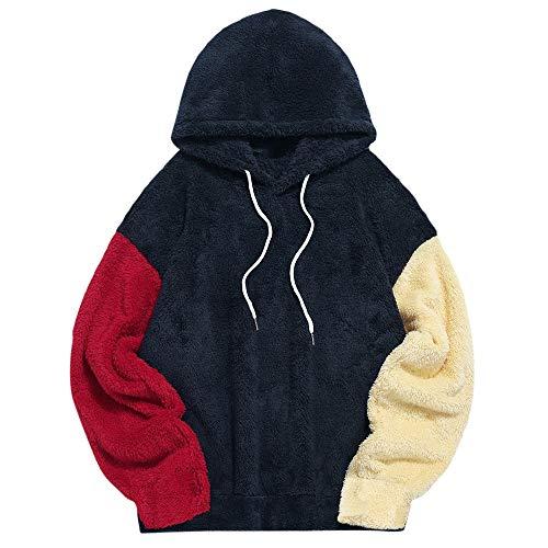 ZAFUL Herren Kapuzenpullover, Känguru-Tasche Plüsch Pullover Hoodie Sweatshirt für Herbst Winter (Tibetischecyan-L)