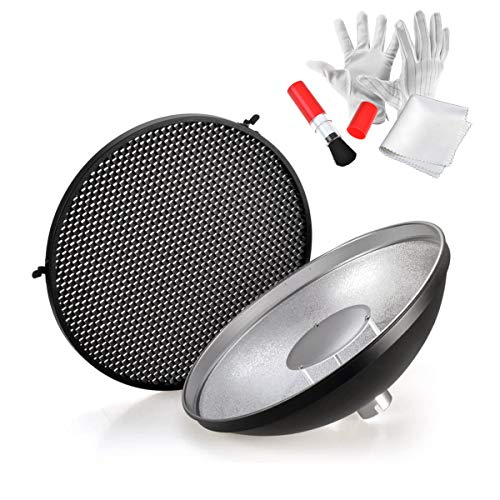Godox AD-S3 Beauty Dish Reflector with Honeycomb Cover for Godox AD200PRO AD200 Pocket Flash Godox AD180 AD360 AD360II Flash Speedlite - Including PERGEAR Cleaning Kit