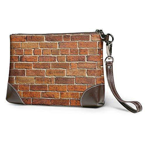 Lsjuee Leder Clutch Brick und Fliesen Wallpaper Zipper Wristlets für Männer Party