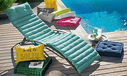 Coussin Matelassé pour Bain de Soleil, Vert d'eau, 60x180cm, 100% Coton