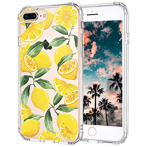 MOSNOVO Cute Lemon Pattern Clear Design Transparent Plastic Hard Back iPhone 8 Plus Cases with TPU Bumper Protective Case Cover for iPhone 7 Plus