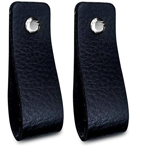 Brute Strength - Maniglie in pelle - Nero - 2 pezzi - 16,5 x 2,5 cm - include 3 colori di viti per maniglia in pelle per armadi da cucina - bagno - armadietti