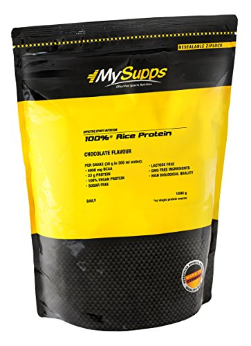 MySupps- 100% Rice Protein, hochwertiges & veganes Eiweiß, 4200mg BCAA pro Portion, hochdosiertes Aminosäureprofil, Zucker-Laktose- und GMO Frei, Made in Germany- 1000g (Chocolate)