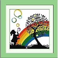 クロスステッチ 大人のためのクロスステッチキット 美しい虹 40x50cm 11CT番号別刺繍キット手作りキットパンチ針刺繍DIY初心者向け手作りスターターキット