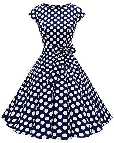 MuaDress 1956 Damen Vintage 1950er Retro Rockabilly Cocktail Prom Kleider Cap-Sleeve Marineblau Große Weiß Punkte M
