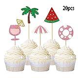 Luau Cupcake Topper Summer Cake Toppers Picks Watermelon Cupcake Topper Hawaiian Theme Party Sun...