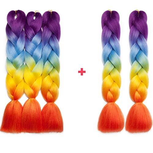 S-noilite - Extension Colori Ombre Treccia Afro 61 cm, 4 Tonalità, da donna, 5 trecce