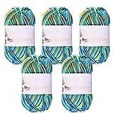Maxee Handstrickgarn,5x50g Häkelgarn Bunt Farbverlauf,Häkelwolle,Acrylgarn zum Stricken, Baumwolle Wolle,Mehrfarbiges Garn,zum Stricken Häkeln und Basteln(Blau plus Gelb)
