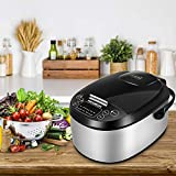 MOOSUM Rice Cooker & Warmer, 6-in-1 Micom 10-Cup (Uncooked) Stainless Steel,With Steamer, Ladle, Spoon, Measuring Cup