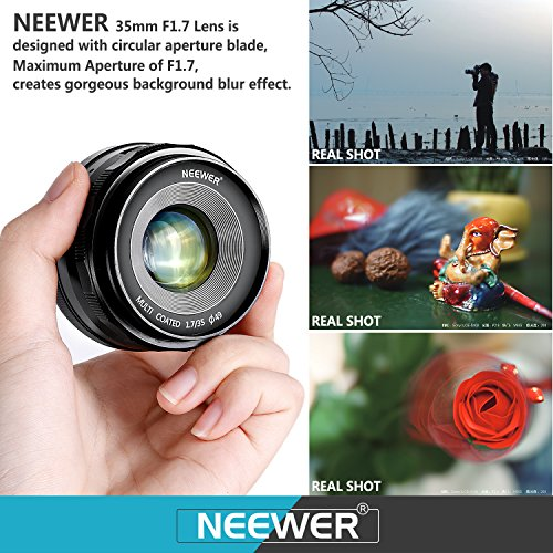 Neewer 35mm F1.7 Large Aperture Manual Prime Fixed Lens APS-C Compatible with Sony E-Mount Mirrorless Camera A7III A9 NEX 3 3N 5 NEX 5T NEX 5R NEX 6 7 A6400 A5000 A5100 A6000 A6100 A6300 A6500 A3000