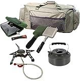 G8DS® Angel-Camping-Koch-Set: Reisetasche + Gas Kocher + 3-Way Pfanne mit Tasche + Toastie Maker...