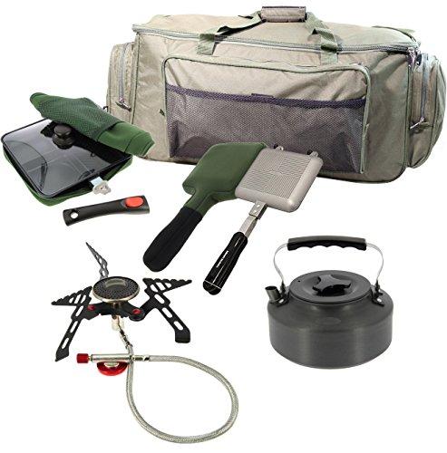G8DS® Angel-Camping-Koch-Set: Reisetasche + Gas Kocher + 3-Way Pfanne mit Tasche + Toastie Maker mit Tasche + Kessel 1,1l