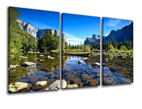 Yosemite National Park Pictures Mountains and Valley Paintings on Canvas Landscape Wall Art 3 Piece Canvas Modern Artwork Home Decor for Living Room Framed Gallery-wrapped Ready to Hang(24''x36'')