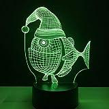 MOZUSA Norte de Europa Interruptor de Grasa Diseño Pescados de la Historieta 3D de Vacaciones Tacto Ligero de la lámpara LED de 7 Colores Decoracion Inicio del Regalo del bebé Cambio de luz Noche