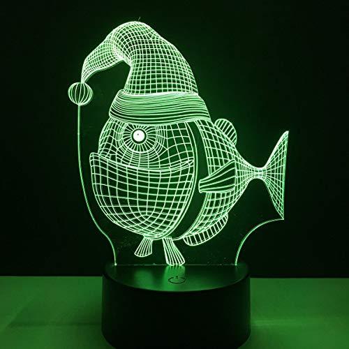 no brand LZP-PP Fat Fish Cartoon Design 3D Light Touch Vacances Commutateur Lampe LED Accueil Decoracion 7 Couleurs Change Night Light Cadeau Bébé