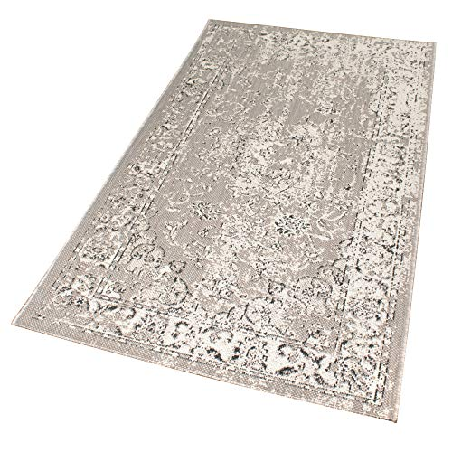 Domdeco In- und Outdoor-Teppich Grey Patterns 150 x 80 cm Kunststoff für Innen und Außen