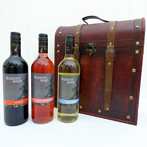 Hidden Road Wine Trio Presented in a Deluxe 3 Bottle Squires Wine Carrier - Gift ideas for Mum, Dad, Mothers Day, Fathers Day, Christmas presents, Birthday, Wedding Anniversary and Corporate