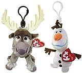TY Beanie Baby - Set of 2 OLAF & SVEN (Disney Frozen) (Plastic Key Clips)