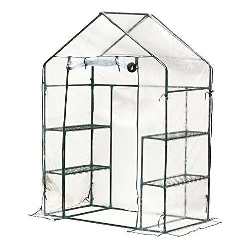 Outsunny 4.5' x 2.5' x 6.5' Outdoor Portable Walk-in Greenhouse with Shelves