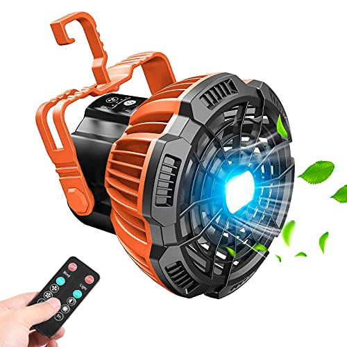 Aoaoy USB Camping Ventilator 4800mAh mit LED Laterne,Tragbar Leise Ventilator Wiederaufladbar 180° Rotieren für Outdoor, Camping, Büro, Grill, Angeln