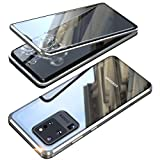 Galaxy S20 Ultra 5G Double Sided Tempered Glass Magnetic Case 360° Full Body [Magnetic Adsorption] Aluminium Alloy Metal Bumper Protection Clear Cover for S20 Ultra 6.9 inch (Silver, Galaxy S20 Ultra)