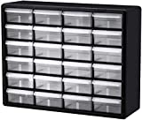 Akro-Mils 24 Drawer 10124, Plastic Parts Storage Hardware and Craft Cabinet, (20-Inch W x 6-Inch D x 16-Inch H), Black (1-Pack) (1-Pack (Black))
