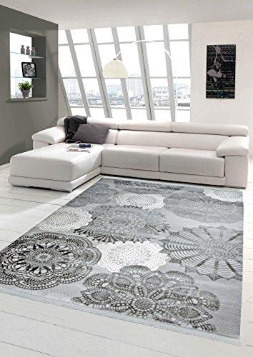 Designer Teppich Moderner Teppich Wollteppich Kreismuster mit Fransen Wohnzimmer Teppich Grau Creme Größe 80x150 cm