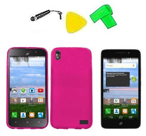 TPU Flexible Skin Phone Cover Case Cell Phone Accessory + Extreme Band + Stylus Pen + LCD Screen Protector Guard + Yellow Pry Tool For Straight Talk Tracfone NET10 Huawei Pronto LTE H891L / Huawei Ascend SnapTo G620-A2 LTE (Frost Pink)