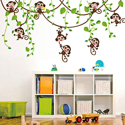 TYOLOMZ Cartoon Mini Wijnstok Apen Muurstickers PVC Behang Baby Kids Kamer Thuis Slaapkamer Kwekerij Decoratie Poster Stickers