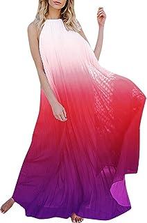d57e2b7841c Romacci Women Backless Maxi Dress Halter Sleeveless Chiffon Ombre Pleated  Boho Beach Long Tunic Dress