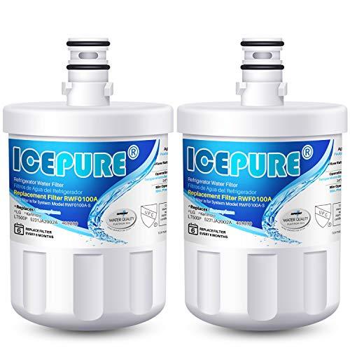 ICEPURE 5231JA2002A Refrigerator Water Filter,Compatible with LG LT500P, GEN11042FR-08, ADQ72910901, ADQ72910907, LFX25974ST, LFX25973S, Kenmore 9890, 469890 2 PACK